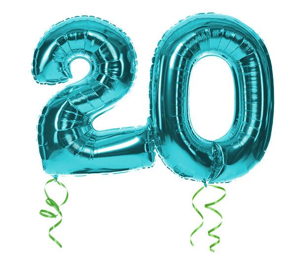 """Luftballons mit der Zahl """"20"""""""
