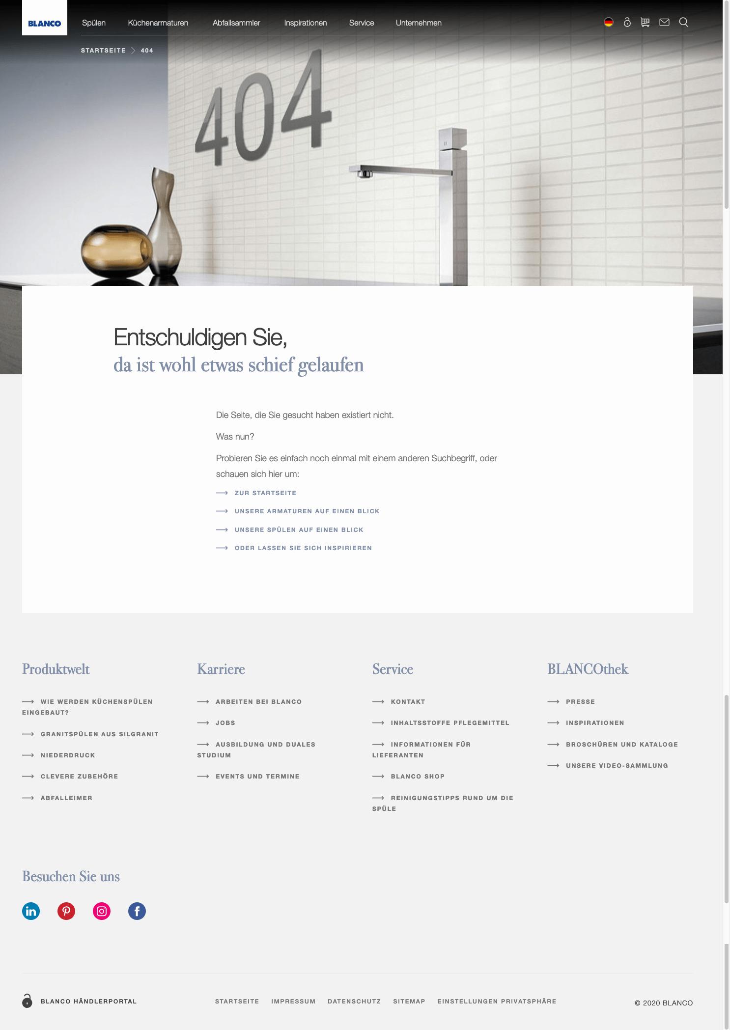 Screenshot einer guten 404-Seite vom 2.1.2021