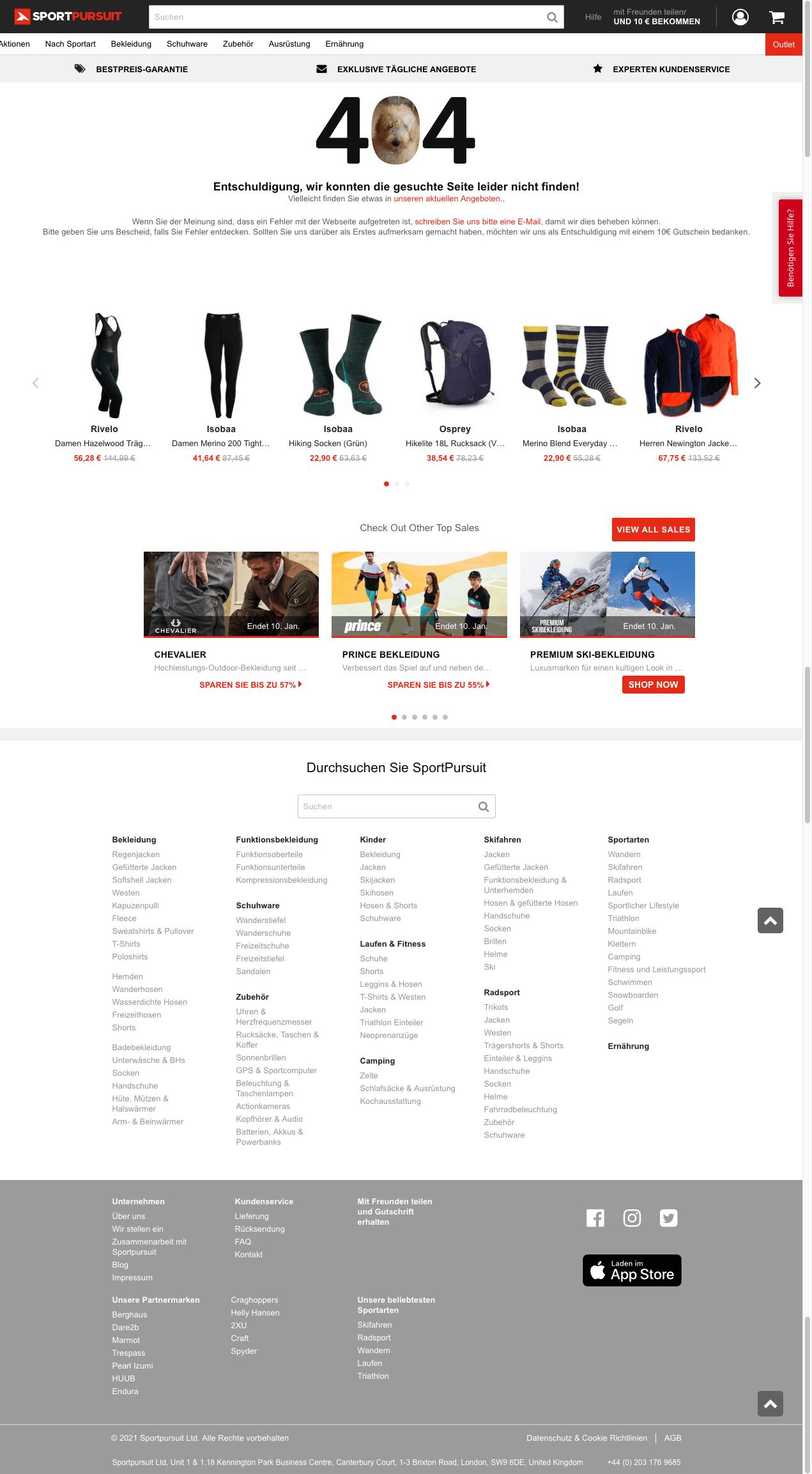 Screenshot einer guten 404-Seite eines Shops vom 2.1.2021