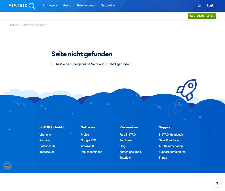 Screenshot einer gut gelungenen 404-Seite vom 2.1.2021