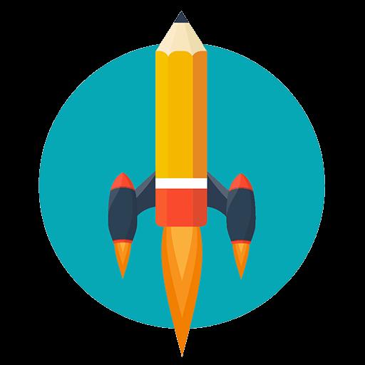 Bleistift als Rakete