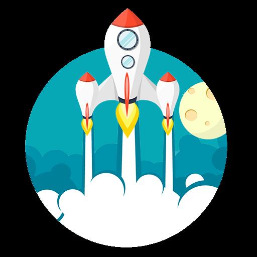 Rakete mit drei Triebwerken
