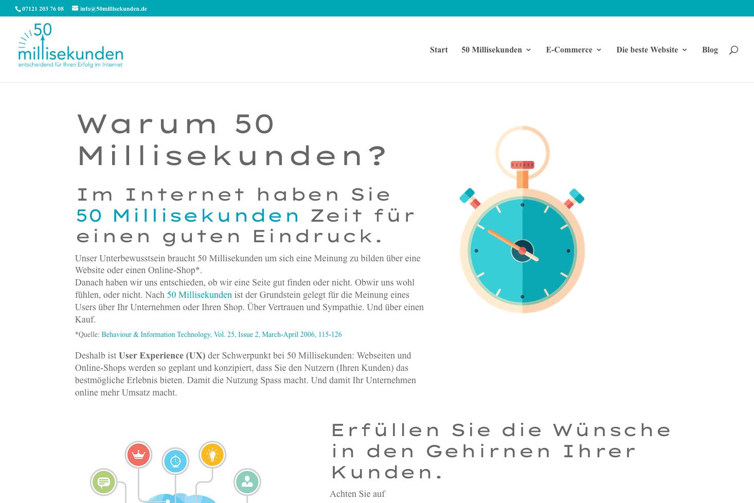 Eine Webseite von 50 Millisekunden mit den Standard-Schriftarten